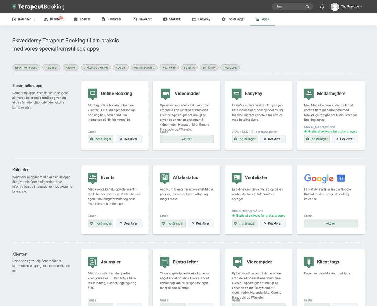 Apps der hjælper dig på vej med dit online booking system hos Terapeut Booking