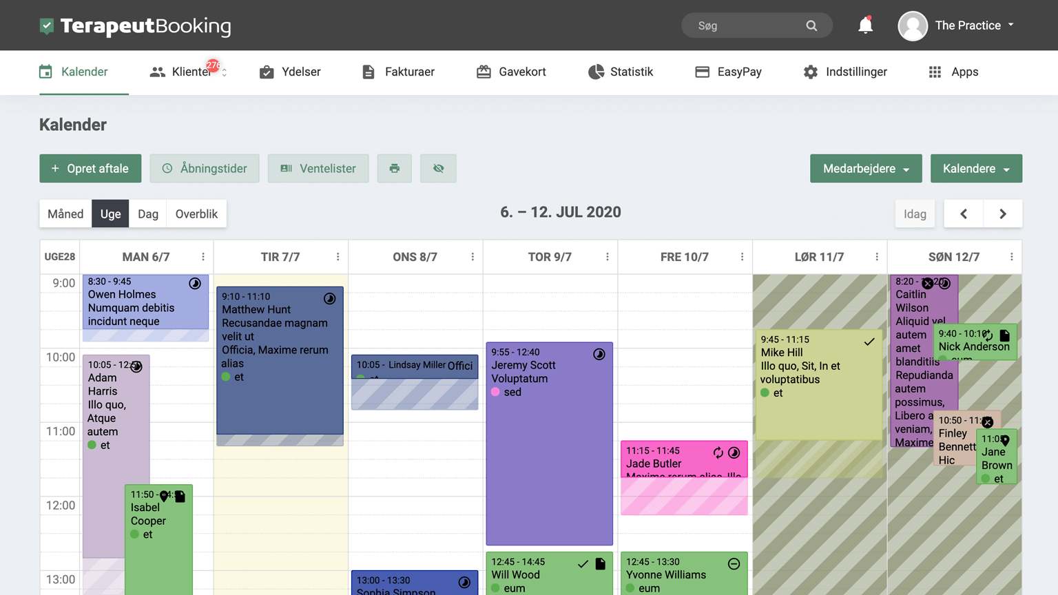 Kalender funktion i Terapeut Booking