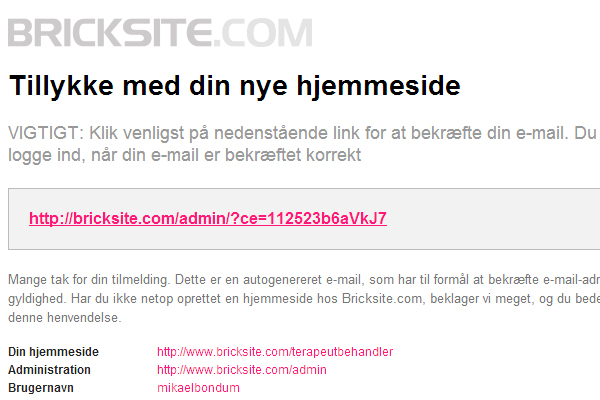 Bricksite hjemmeside med online Terapeut Booking