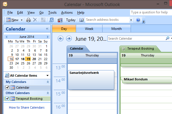 Terapeut Booking Microsoft Outlook 2007 synkronisering