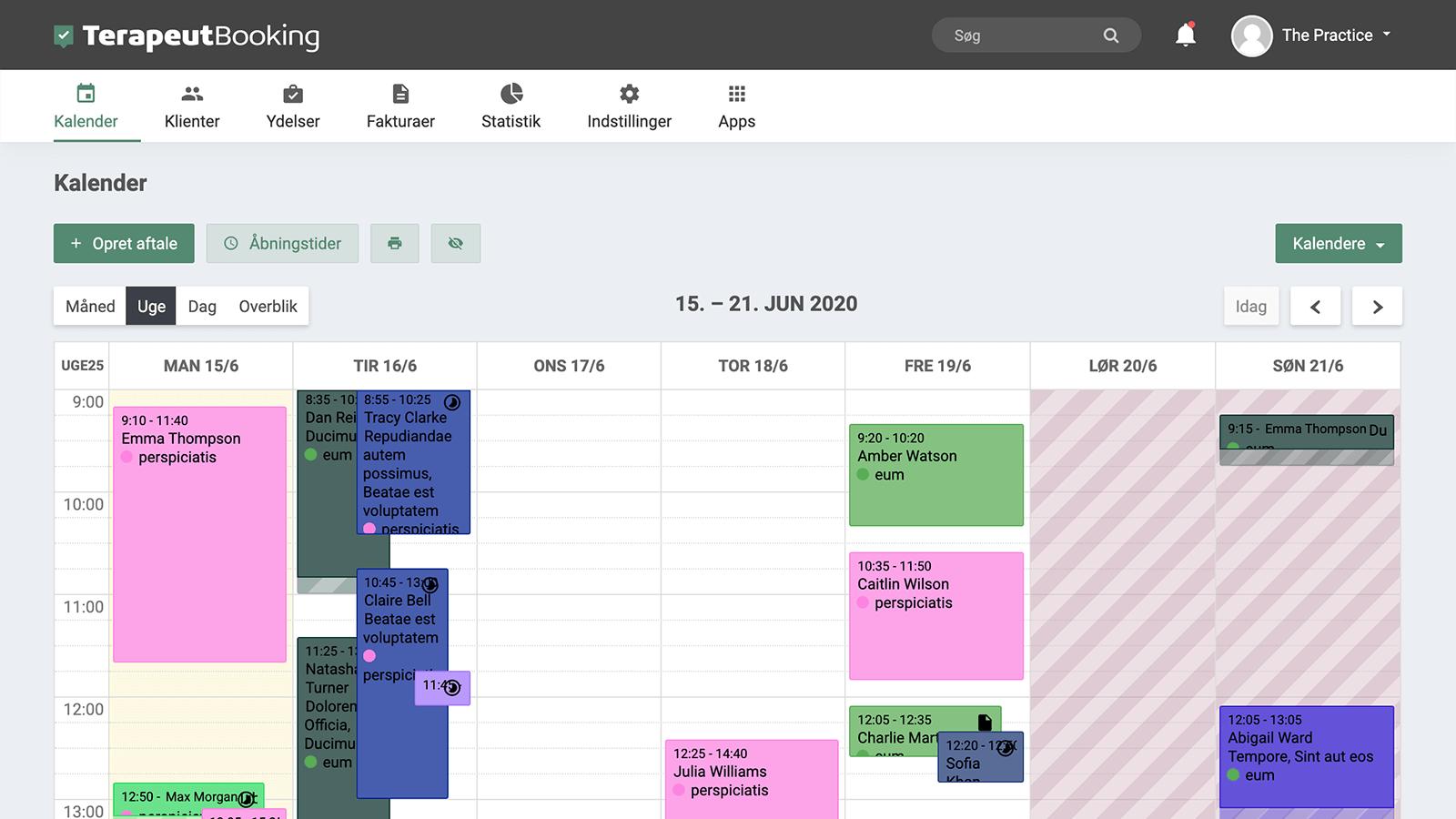 Overskuelig kalender funktion der samler dine aftaler direkte i Terapeut Booking