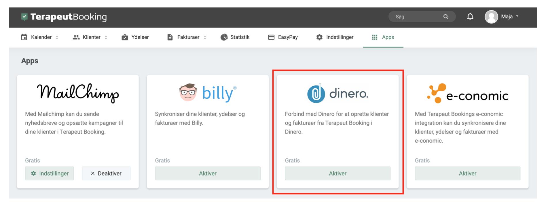 """f03624d1d0d Her finder du Dinero appen og klikker på den gønne knap, hvor der står  """"Aktiver""""."""