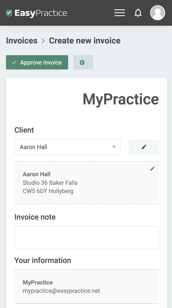 invoicing example on mobile