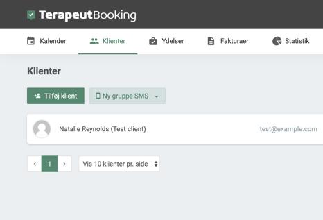 Klient menuen i Terapeut Booking