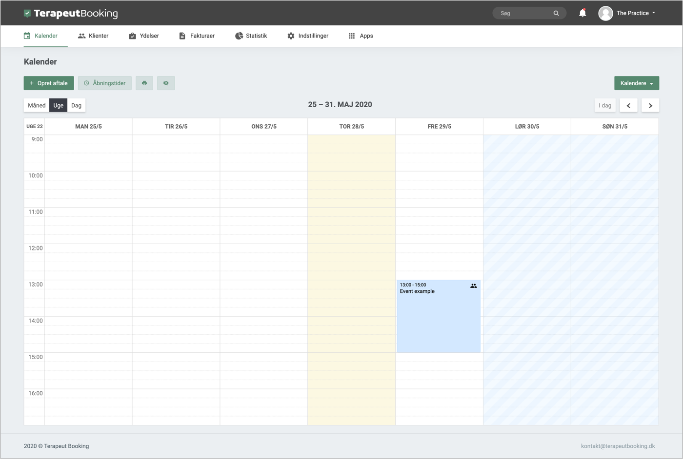 Kalender funktionen i Terapeut Booking