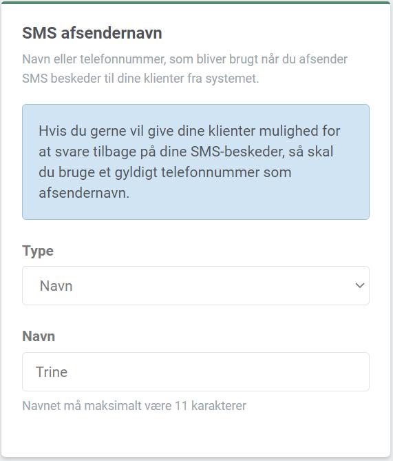 Billede af SMS-afsendernavn under Din profil